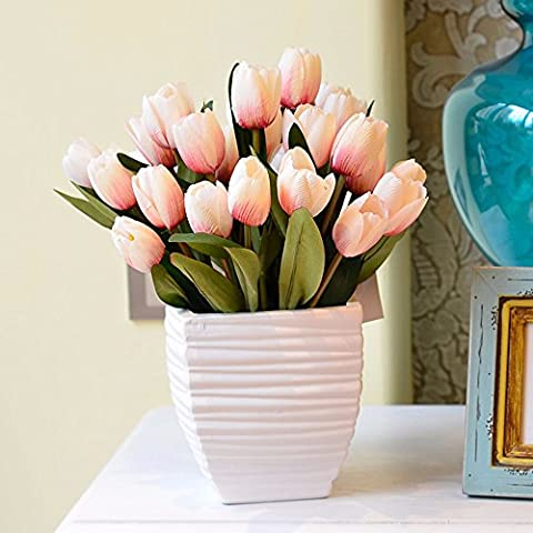 Hctina Artificial flower Tulip Suite Of Plants Flowers In Vases Ceramic Pink