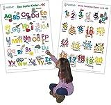 Das bunte Kinder-ABC + Meine tierischen Zahlen von 1-20: 2 Lernposter, gerollt, abwaschbar + UV-Lack beschichtet