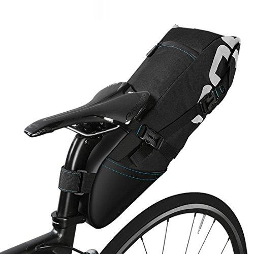 Fahrrad Satteltasche, Wasserdicht 10L Fahrrad Sattelstütze Sattel Sitz Fahrradtasche, Fahrrad Tasche Faltbar Mountain Bike Satteltasche mit aufrollbarer Öffnung - Schwarz