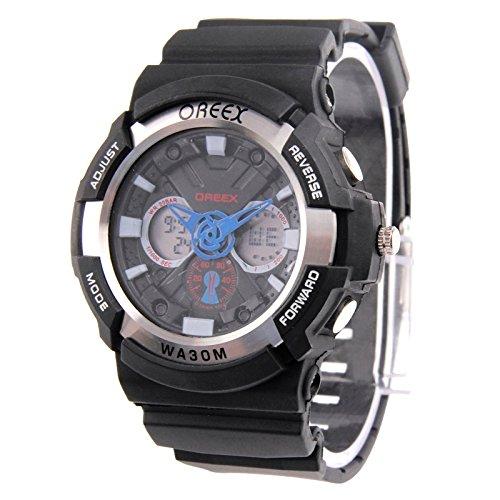 Jusheng Sport Blue LED Uhr mit Uhr Hand/Woche / Zeit/Datum / Alarm/Stoppuhr / LED-Licht