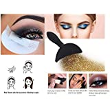 SOZZUMI 20pcs Of Disposable Pro Cotton Pads Eyeshadow Shields Under Eye Patches (white) + 1pc Of Eyeshadow Stamp Seal Crease Glittering Lazy Applicator, For Eye Beauty Makeup Tools (Black).