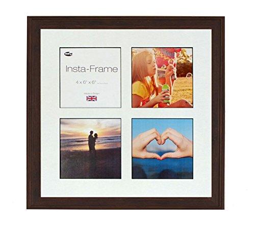 Inov8 16 x 16 Insta Rahmen-Austen-Bilderrahmen für 4 Fotos, quadratisch, Instagram, mit weißem Passepartout und schwarzem Einsatz, Warm, Eiche -