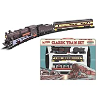 KandyToys Classic Retro Electric Large Toy Train With Tracks | Battery Operated