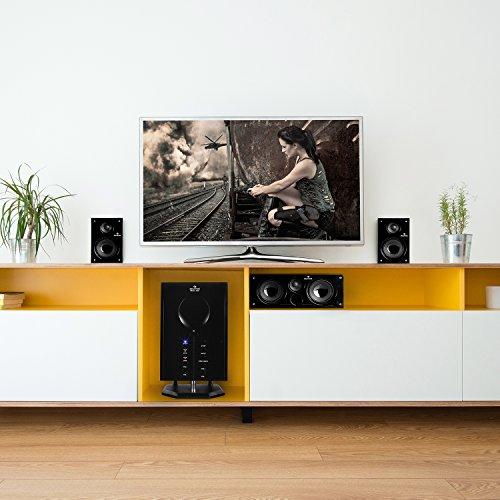 auna Areal 525 WD • Heimkinosystem • 5.1 Surround Sound System • 125 Watt RMS • Aktiv-Mono-Subwoofer • 13,5 cm (5,25″)-Sidefiring-Tieftöner • Bassreflex • fünf Satellitenlautsprecher • AUX-Eingang • Sleep Modus • Fernbedienung • Holzgehäuse • braun - 2