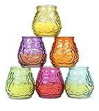 6 Stück Citronella Kerze in bauchigem Glas 9,5x9cm im Display Mückenabwehr Duftkerze