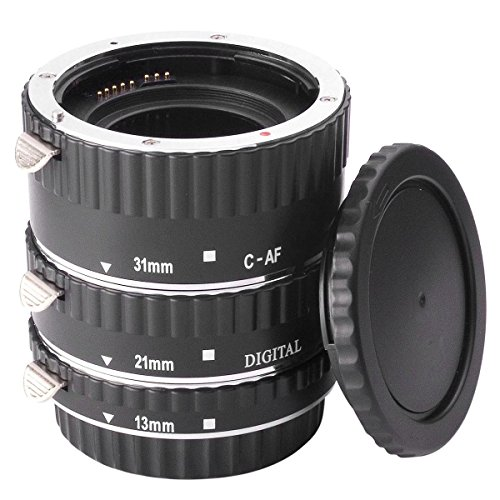 XCSOURCE® AF Macro Tubo Anillo Set de Extensión 13mm, 21mm, 31mm) For Canon EOS EF 5D 6D 60D 7D 70D 300D 350D 400D 450D 500D 550D 600D 700D 1000D 1100D 1200D Digital SLR Cámara (Plata)
