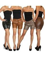 Kunstlederhose Damen Shorts in Leder-Optik in 4 Farben Gr. XS 34 - L 40