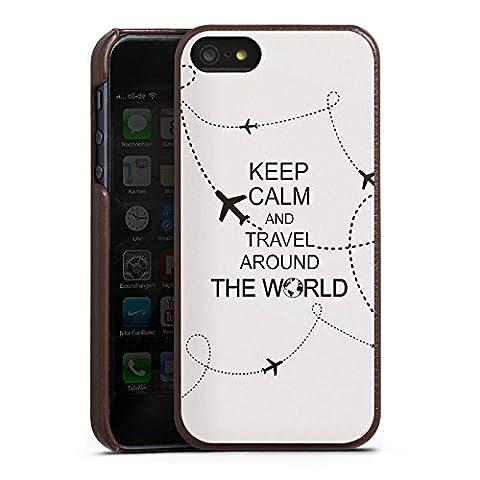 Apple iPhone SE Lederhülle Leder Case Leder Handyhülle Reisen Travel