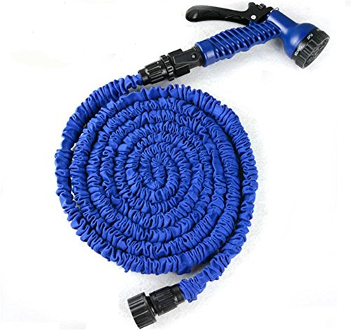 SHISHANG 50FT retractable car hose car cleaning products anti-high temperature imitation latex 3 times times telescopic high pressure water gun garden washing car green Blue, blue