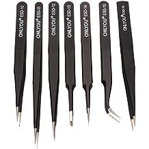 PIXNOR 7pcs ONLYOU Herramientas de reparación de pinzas de precisión antiestático de acero inoxidable en 7 tamaños