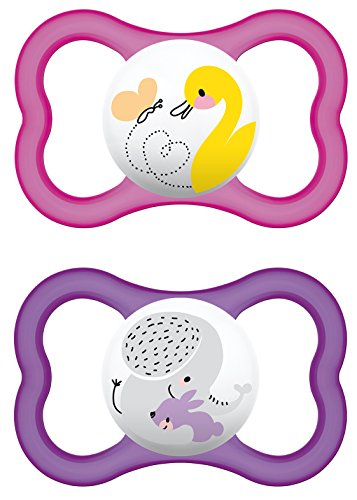 """MAM 216422 - Ciuccio """"Air"""" in lattice per bambine dai 6 ai 16 mesi, confezione doppia, colori assortiti"""
