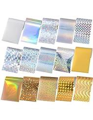 Born Pretty 15Pcs Nail Foils Holographique Laser Coloré Nail Art Manucure Sticker 4*13cm