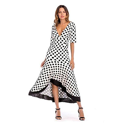 Cinnamou Vestido Largo con Volantes Irregulares de Verano para Mujer Lunares Vestido con Cuello V Profundo Vestido de Mangas Corta (Blanco, XL)