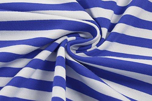 CRAVOG Langarmshirt Herren Marine-Stil 3/4 Ärmel O-Neck slim fit Blau Weiß