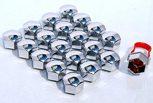 Lot de 20 cache-écrous de protection pour boulons et écrous de roue en alliage - Universels, 17 mm - Chrome