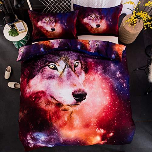 XWLIU Bettwäsche-Set, 3D Wolf Galaxis Rosa Rot Lila Tier Bettbezug Kissenbezug,150x210cm