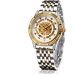 BINLUN Mens 18ct Gold Plated Watch Automatic Mechanical Skeleton Watches for Men with Stainless Steel Bracelet
