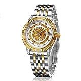 Binlun Herren-18ct-vergoldete Armbanduhr, Luxus-Automatik, Mechanische Skeletton-Uhren für Männer mit zwei Ton Edelstahl Armband, Gold und Diamante-Lünette