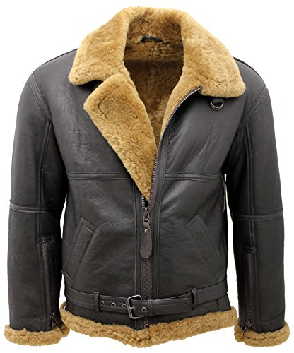 Men's Brown RAF Real Shearling Sheepskin Flying Leather, used for sale  Delivered anywhere in UK