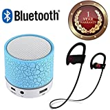 Elevea Certified Colorful LED Light Crack Pattern Mini Stereo Portable Wireless Bluetooth Speaker With QC-10 JOGGER SPORTS Bluetooth Headset For All Smartphone & Ios Device (1 Year Warranty)