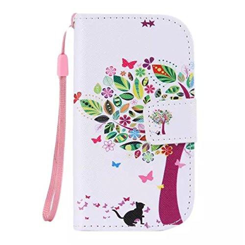 Gogoindustry Butterfly Stand Pelle Flip Custodia Protettiva Case Cover per Samsung Galaxy S3 III Mini i8190 Bianco