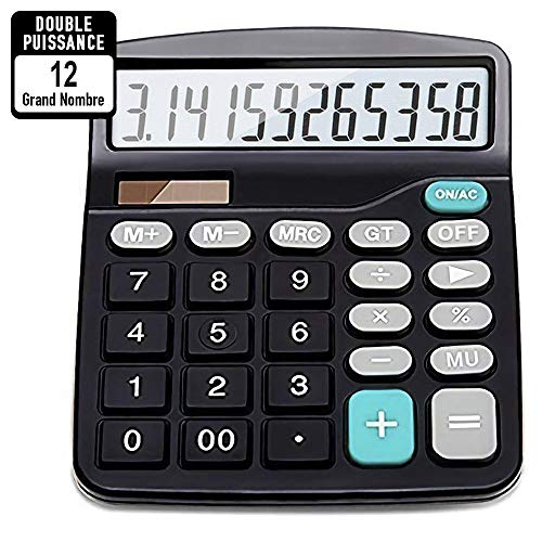 Calculatrice,Calculatrice de bureau, Calculate Alimentation Solaire et Fonctionnement sur Piles,12 Chiffres, Calculatrice Grand écran LCD, Gros bouton, Calculatrice Standard de base