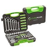 STARKMANN Greenline Juego de llaves de vaso Llave de trinquete Caja de herramientas Cajón Bits Llave de extremo abierto 104pcs
