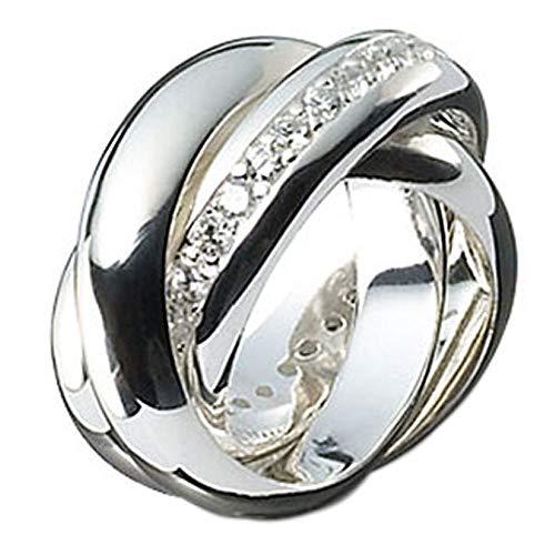 3er Ring Dreierring hochwertige Goldschmiedearbeit (Sterling Silber 925) eine Schiene mit Zirkonia Steinen besetzt Rollring Dreifach Ring Damenring Herrenring außergewöhnlich