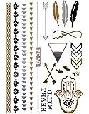 KLIMBIM Bling your Body mit Flash Metallic Tattoos Gold Schmuck Tattoo für Körper Finger Arme viele Designs