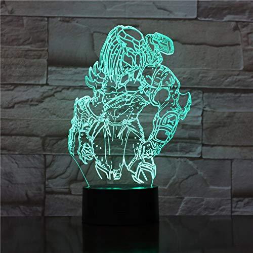 Predator 3D Lampe LED Wechselnde Nachtlichter Visuelle Illusion 7 Farben Wechselnde LED Alien vs Wolf Predator Schreibtischlampe Für Wohnkultur