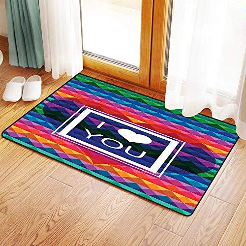 Yaoni Rutschfester Badvorleger, Vintage Regenbogen, Bunte Fraktale Mosaik Hintergrund mit Herz und ich Liebe Dich Frame,Mikrofaser Duschvorleger Teppich für Badezimmer Küche Wohnzimmer 60x100 cm