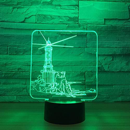 WangZJ 3d Illusion Lampe / 3d Nachtlicht/dekor Lampe/Kinder Geschenk / 7 Farbwechsel Led Schreibtisch Tisch / 7 Farbwechsel/Leuchtturm Modell -