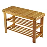Shoe Rack, Hapilife 2 Tier Bamboo Shoe Rack Bench Storage Organiser Holder 70 x 27 x 45cm Made of 100% Natural Bamboo Max Load Capacity up to 100KG