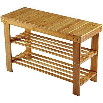 Bamboo Shoe Rack Hst Mall 2 Tier Wooden Shoe Rack Bench Storage Organiser 90 X 27 X 45cm Made