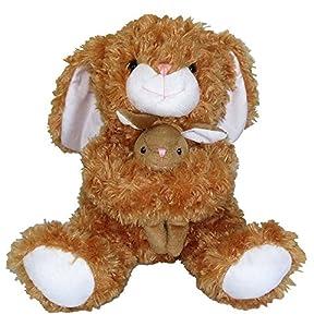 Heunec 813472Peluche-Conejo con bebé, Sentado, Color marrón, 28cm