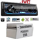 Peugeot 206 - Autoradio Radio JVC KD-X151 | MP3 | USB | Android 4x50Watt - Einbauzubehör - Einbauset