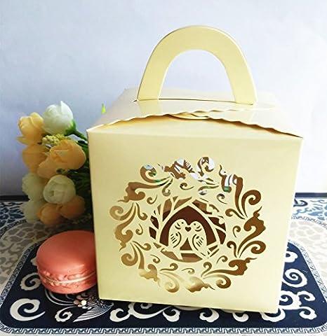KAZIPA 12Stk Deko Geschenkboxen, Laserschnitt Vogel Single Cupcake Box f¨¹r Hochzeitstorte, Muffins, (Single Cupcake Box)