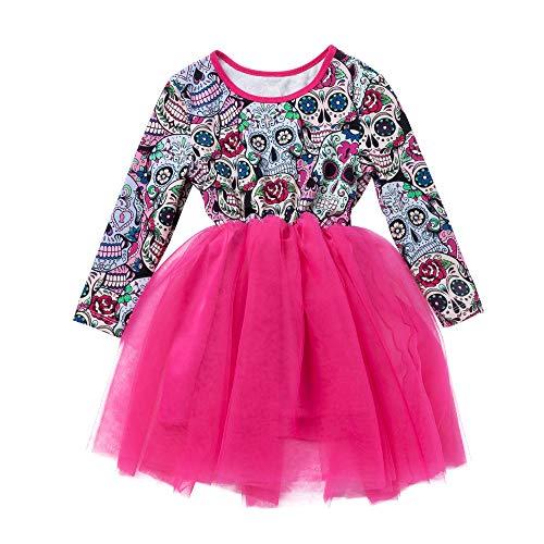 Baby Kinder Mädchen Langarm Druck Tutu Prinzessin Kleid -