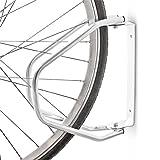 IceFox Relaxdays Fahrradständer zur Wandmontage, Wandhalterung für 1 Fahrrad, Klappbar, HBT: 32,5 x 9 x 28,5 cm, silber