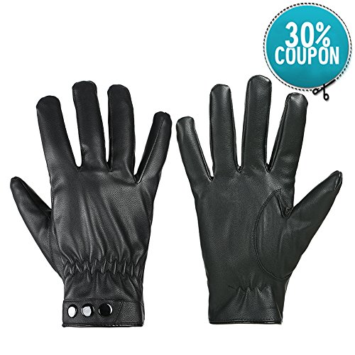 GLOUE Leder Handschuhe Winterfest Wasserabweisend Winddicht Unisex Touch Screen Warme Handschuhe Winter Outdoor Schwarz (Schwarz01) (Wunderschöne Schwarz-leder)