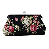 Beautiful Womens Flower Pattern Hasp Coin Purse Money Clip Keys Card Bag Shiny Wallet (Black)