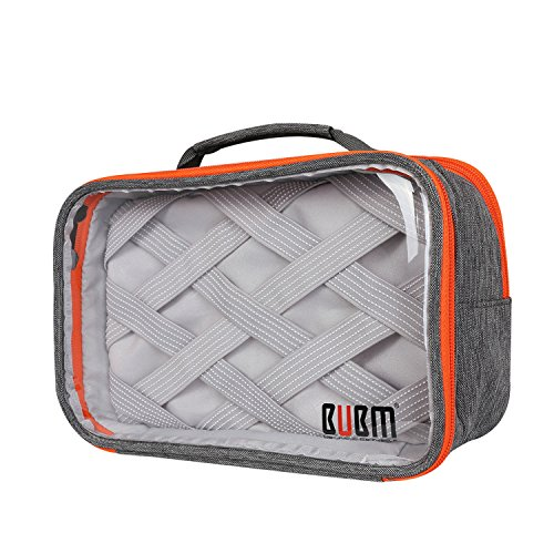 bubm-rectangle-clear-travel-gear-organiser-electronics-accessories-bag-grey-2-layers