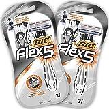 BIC RAZORS Flex5 Rasoi Usa e Getta da Uomo, Confezione da 2 Pacchi a 3 Pezzi