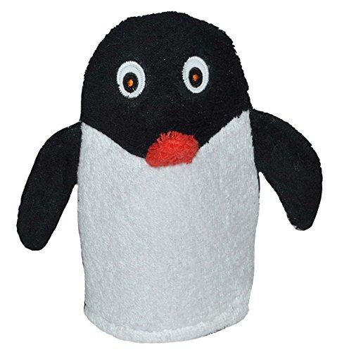 2 in 1: Waschhandschuh + Handpuppe Pinguin für Kinder - Handspielpuppe Handpuppen Tier Baby Waschlappen Pinguine zum Spielen und Waschen