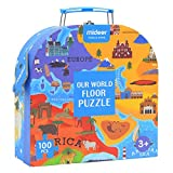 SH-Flying Mappa del Mondo Puzzle, 100 PCS World Map Puzzle per Bambini Educational Geografia Jigsaw Puzzle Educational Talking Toy for Kids