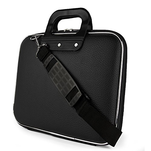 SumacLife Cady Collection Carry Bag Briefcase with Removable Shoulder Strap for 13-14in Laptops/Notebooks, Apple MacBook Pro 13in MacBook Air 13in Dell Vostro Lenovo HP ASUS 14in Laptop (Black)