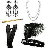 INNOBASE Disfraces de Roaring 20s 1920's Accesorios para disfraz de charlestón (Venda para el pelo, Collar de Perlas, Canastilla de cigarro,guantes), color negro (D)