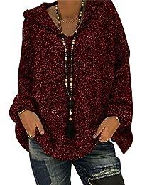 BLACKMYTH Mujer Casual V-Cuello Manga Larga Sudaderas con Capucha Loose Tejer Suéter Color Puro