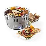 oneConcept Beefy A Barbecue A Carbone Griglia Portatile BBQ Senza Fumo (Ø 31 cm, Avvio Rapido, Superficie Cool-Touch, Piastra in ghisa, Borsa da Trasporto) Grigio