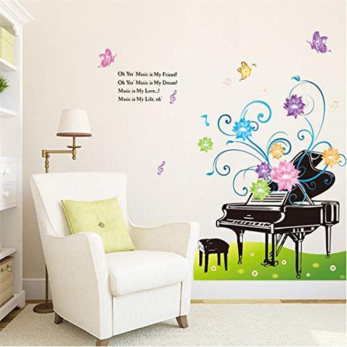 Kreative Klavier Bunte Blumen Wiese Musik Wandaufkleber Schlafzimmer Wohnzimmer Wandtattoo Art Aufkleber Wiese Musik